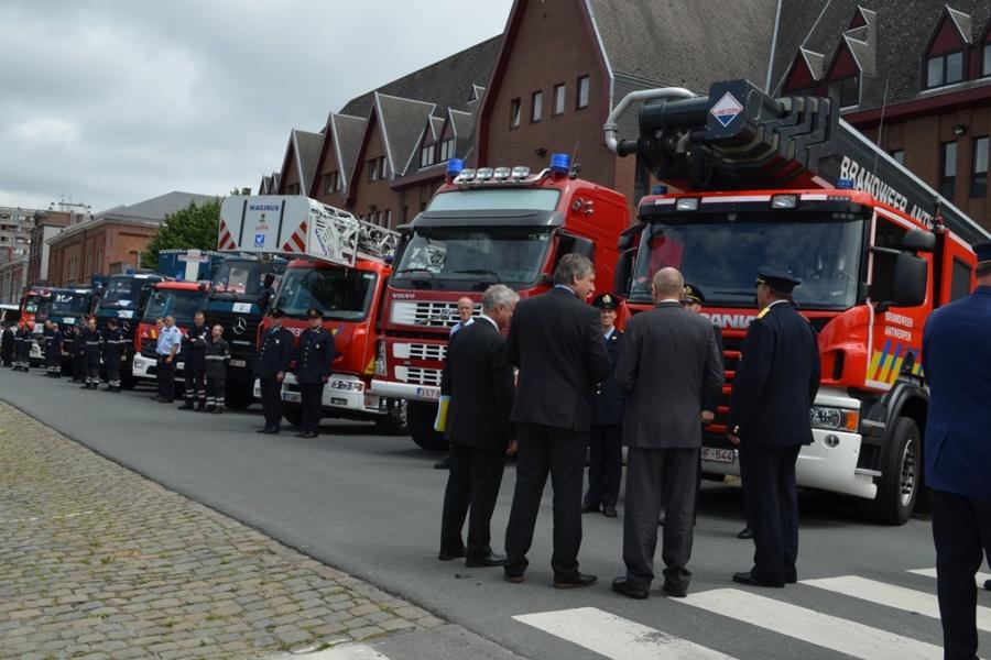 Passage en revue des troupes - Service d'incendie d'Anvers